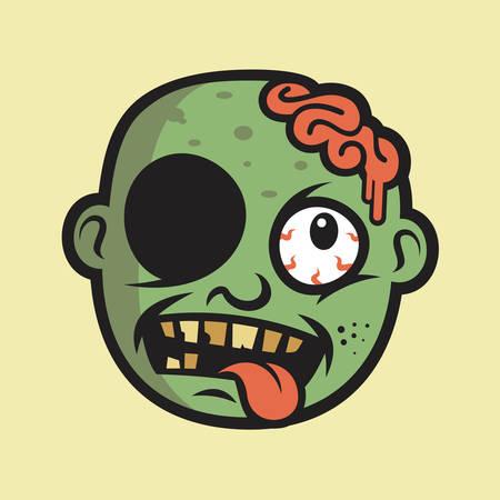 Crazy Zombie Head Stock Illustratie