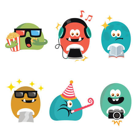 artistic photography: Cute Character  Template Design Vector Illustration