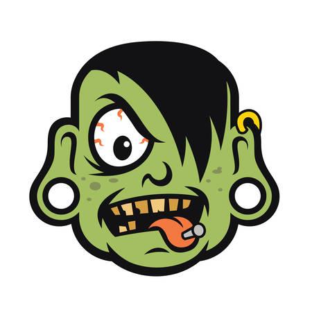 Rock Zombie Head Stock Illustratie