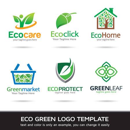 에코 녹색 잎 로고 템플릿 디자인 벡터 일러스트