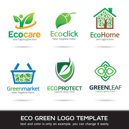 leaf line: Eco Green Leaf Logo Template Design Vector Illustration