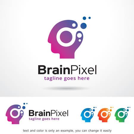 smart man: Brain Pixel Logo Template Design Vector