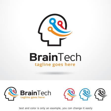 head phone: Brain Tech Logo Template Design Vector Illustration