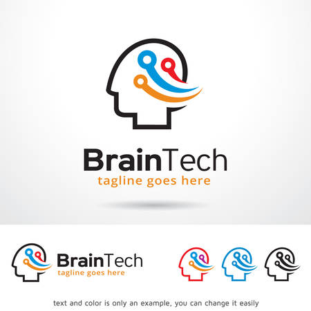 Brain Tech Logo Template Design Vector Illustration