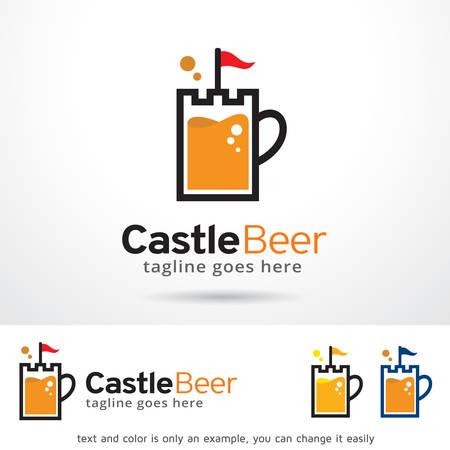 royal person: Castle Beer Logo Template Design Vector