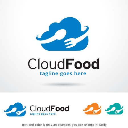 logo informatique: Logo Nuage alimentaire Template Design Vector Illustration