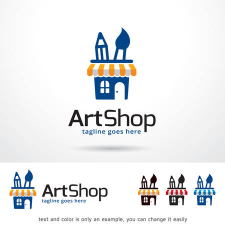 Art Shop Logo Template Design Vector Çizim