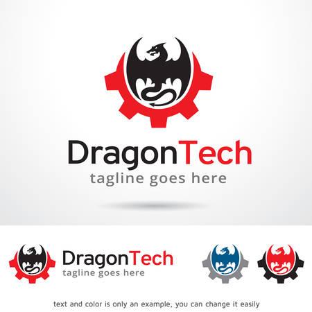 Dragon Tech Logo Template Design Vector