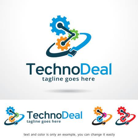 logo handshake: Technology Deal Logo Template Design Vector