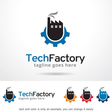 factory: Tech Factory Logo Template Design Vector Illustration