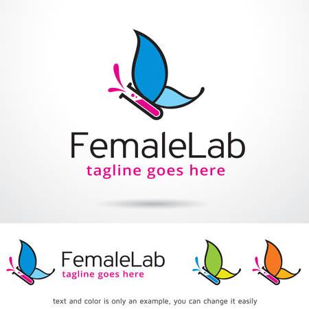 Female Lab Logo Template Design Vector