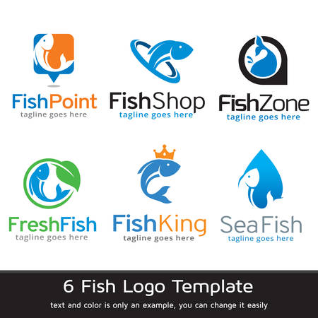 Fish Logo Template Design Vector Çizim