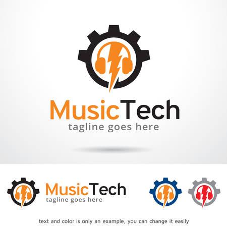 Music Tech Logo Template Design Vector