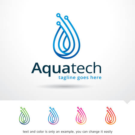 Aqua Technology Logo Template Design Vector Çizim