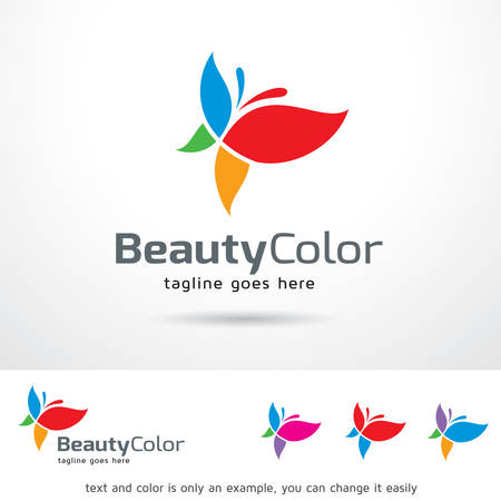 Beauty Color Logo Template Design Vector. Butterfly