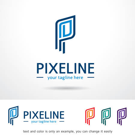 Pixeline Letter P Logo Template Design Vector