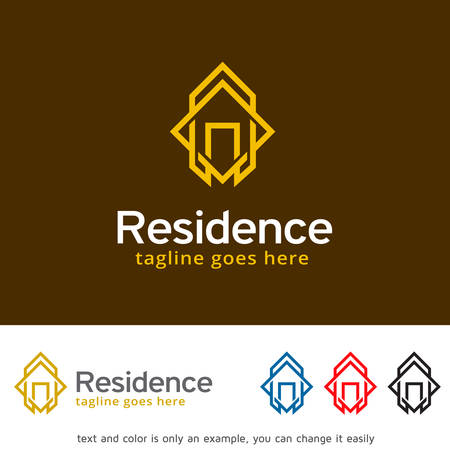 residence: Abstract House Logo, Real Estate, Residence, Hotel, Construction or Community Logo Template Design Vector