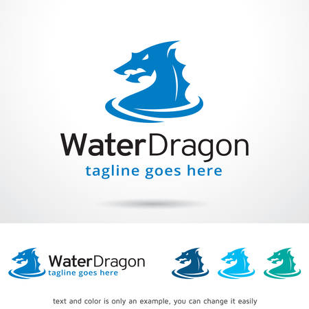 Water Dragon Logo Template Design Vector