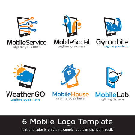 phone logo: Mobile Phone Logo Template Design Vector Illustration