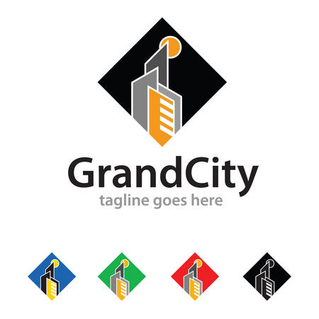 Grand City Logo Template Design Vector Ilustracja