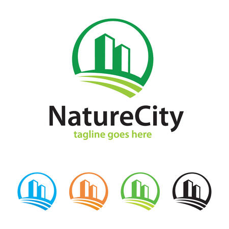 nature city logo template design vector royalty free cliparts