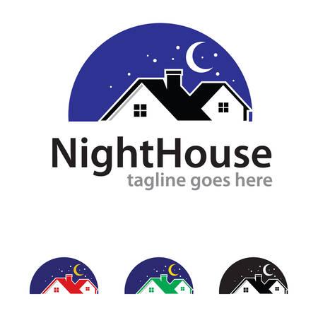 house logo: Night House Logo Template Design Vector
