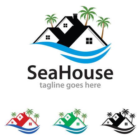 house logo: Sea House Logo Template Design Vector