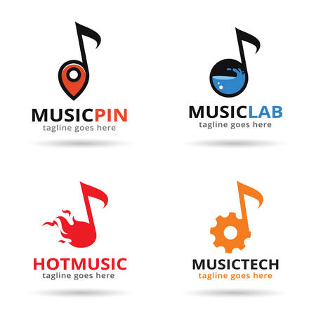 Música del logotipo plantilla vector
