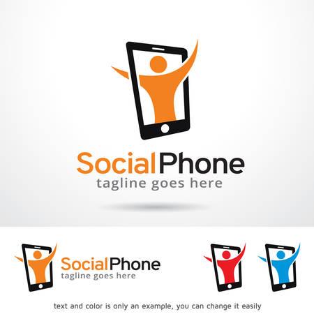 Social Phone Logo Template Design Vector Vectores