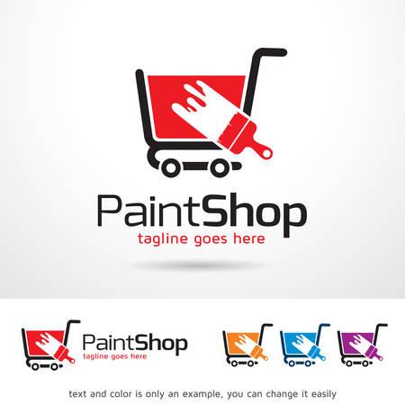 Paint Shop Logo Template Design Vector Banco de Imagens - 73410017