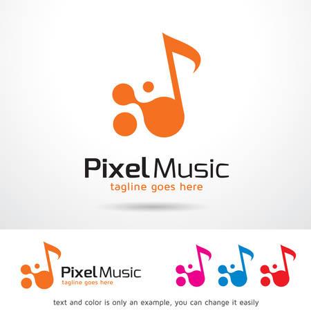 Pixel Music Logo Template Design Vector