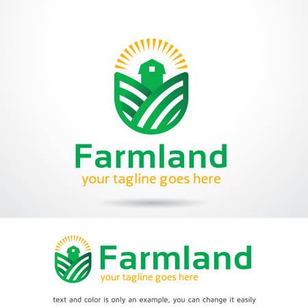 Boerderij Land Logo Sjabloon Ontwerp, Embleem, Ontwerp Concept, Creatief Symbool, Pictogram Stock Illustratie