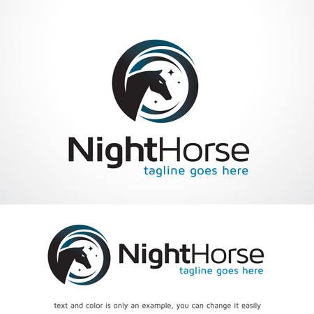 Nacht Paard Logo Sjabloon Ontwerp Vector, Embleem, Ontwerp Concept, Creatief Symbool, Pictogram