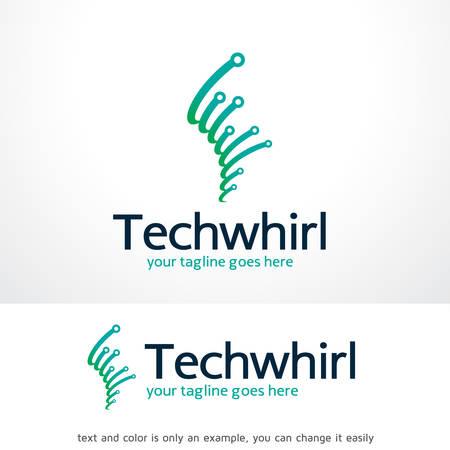 Tech Whirl Logo Sjabloon Ontwerp Vector, Embleem, Ontwerp Concept, Creatief Symbool, Pictogram Stock Illustratie