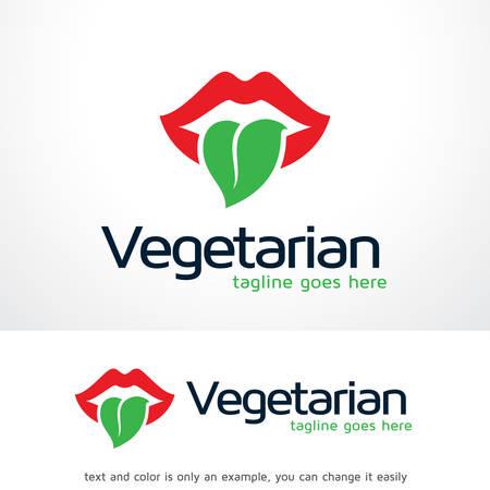 Vegetarian Logo Template Design Vector, Emblem, Design Concept, Creative Symbol, Icon