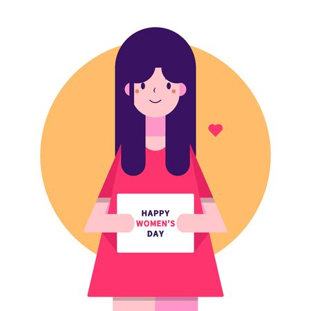 illustration of a woman holding a paper that says happy woman's day
