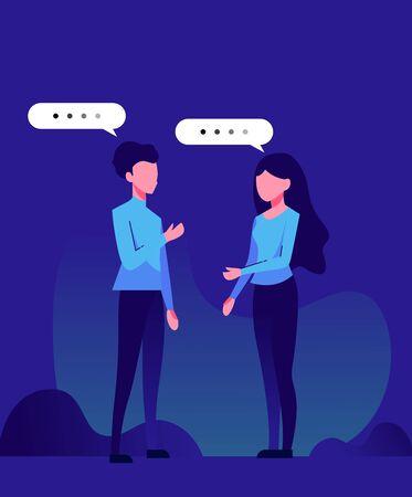 illustration of woman and man chatting Иллюстрация