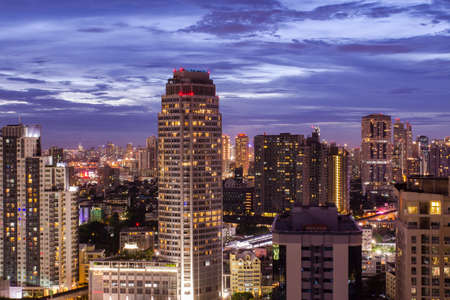 city by night: sunset Bangkok city night live