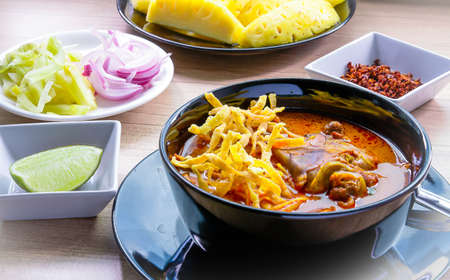 soi: Khao Soi  thai food style yellow spicy