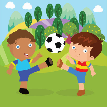 Kids playing football in the park Illustration