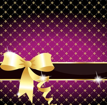 Golden ribbon on a purple background  Vector