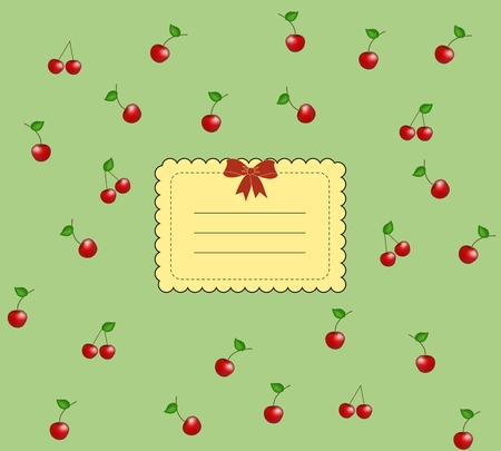 Delicious vintage cherry card  Stock Vector - 8976708