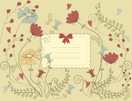 Vector Vintage card with flowers. Beautiful harmonic colors.  Vector