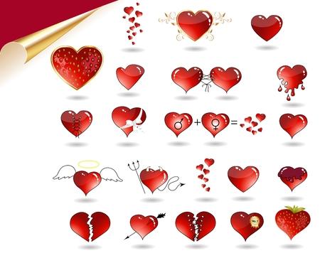 diablo y angel: Colecci�n de varios corazones. Coraz�n como angel, Diablo, fresa jugosa, con hojas de oro, cinta, flecha, roto el coraz�n, etc..