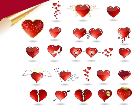 Collection of various hearts. Heart as angel, devil, juicy strawberry, with golden leaf, ribbon, arrow, broken heart, etc.  Illustration