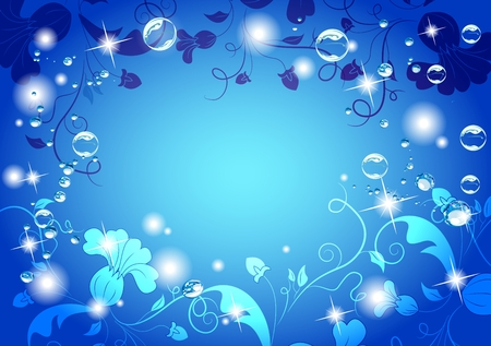 Bright blue background with flowers, stars and water bubbles. Beautiful colors.  Vector