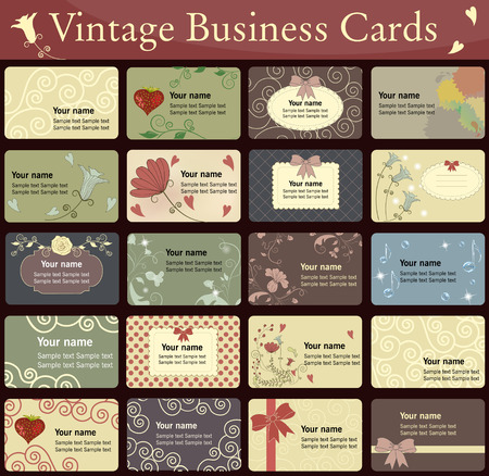 Vintage business cards collection. Beautiful harmonic colors.  Vector