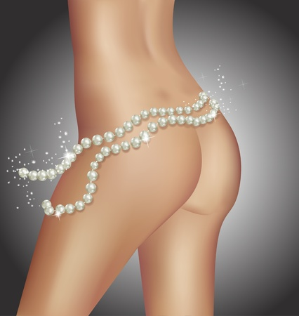 Beautiful tanned body with sparkling pearls  Stock Vector - 9278120