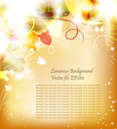 Golden Luminous background with flowers and bright light. Beautiful bright  harmonic colors. Place Your text if necessary.  Vector
