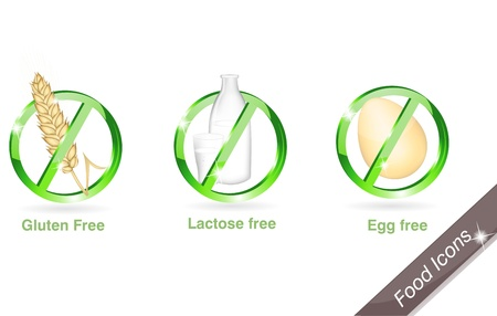 Diet icons. Gluten free, lactose free, egg free. Beautiful bright colors. Stock Vector - 9383699